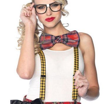 MDIGH3W 3PC.Nerd Kit,includes suspenders,bow tie,glasses in MULTICOLOR