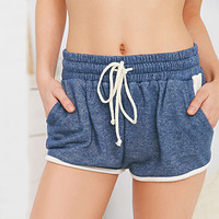 Blue Elastic Drawstring White Trim Short
