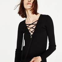 V - NECK SWEATER WITH BOW-NEW IN-WOMAN | ZARA United States