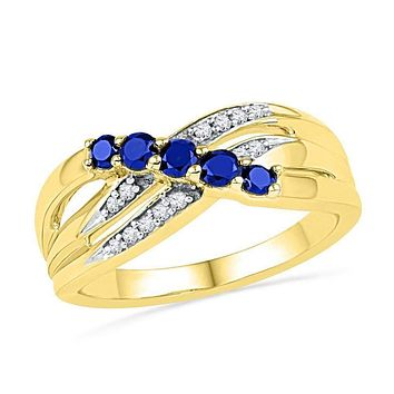 10kt Yellow Gold Women's Round Lab-Created Blue Sapphire Band Ring 1/2 Cttw - FREE Shipping (US/CAN)