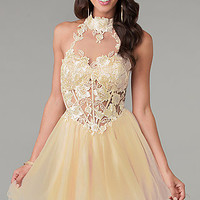 Short Lace Embellished High Neck Prom Dress by Dave and Johnny