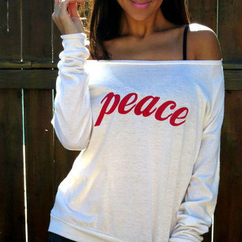 Peace. EcoHeather Crop Raglan. Sizes SXL. by FiredaughterClothing