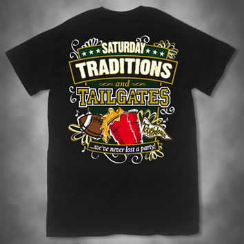 Sweet Thing Saturday Traditions Never Lost a Party Black Football Girlie Bright T-Shirt