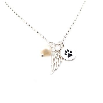 Paw Print Angel Wing Memorial Necklace - Pet Loss Necklace - Sterling Silver - Memorial Jewelry