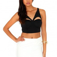 Missguided - Heta Cut Out Bustier Top In Black