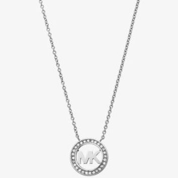 Fulton Crystal Silver-Tone Logo Necklace | Michael Kors