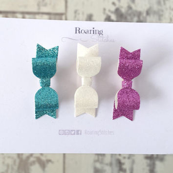 Mini glitter hair bows gift set - set of 3 glittery small bow hair clips in turquoise white and pink