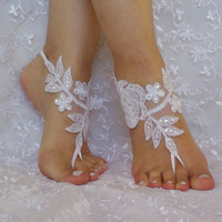 Free ship White scaled sequins beach wedding barefoot sandals woman wedding shoes
