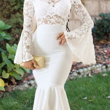 White Lace Ruffle Mermaid Flare Sleeve Banquet Elegant Sweet Party Midi Dress