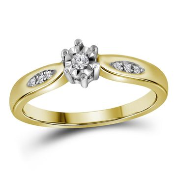 Yellow-tone Sterling Silver Womens Round Diamond Solitaire Bridal Wedding Engagement Ring 1/20 Cttw - Size 5