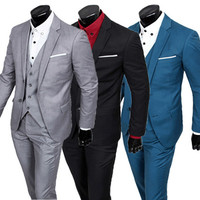 Three-Pieces Men Slim Fit Suit Set