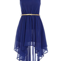 Aysmmetric royal blue dress