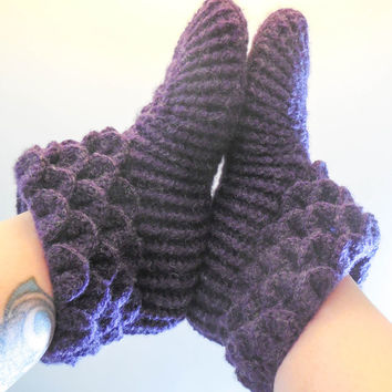 Purple Crochet House Slippers - Crocodile Stitch Boots - House Boots with Heart Buttons