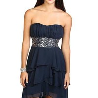 strapless multi tendril high low sequin homecoming dress - debshops.com