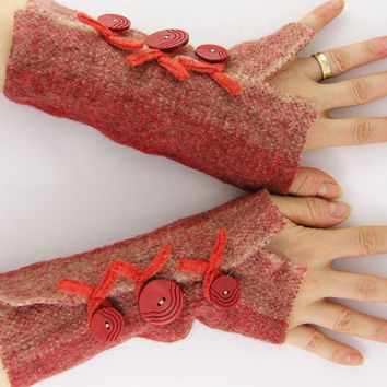 recycled wool fingerless mittens arm warmers arm cuffs fingerless gloves eco friendly  tangerine orange curationnation therougett