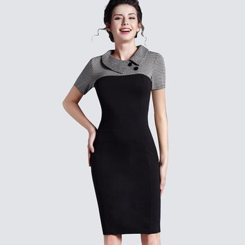 Vintage Women Knitting Patchwork Dress Elegant Work Office Business Sheath Bodycon Pencil Dress B238