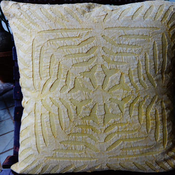 """Handmade Indian Applique Work Cushion Cover, Set Of 5  Cut Work Cushions, Home Decor India,Traditional Pillow Cover, 16"""" x 16"""" Inches Size"""