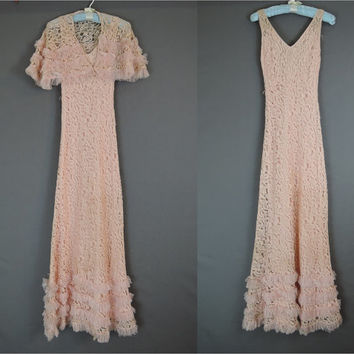 XS Pink Lace 1930s Gown and Capelette with Tulle Ruffles - 29 Bust, unworn