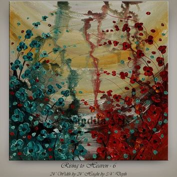 """Red Flower Oil Painting 24"""" Abstract wall Art on Canvas Red, Teal Landscape Poppy Art by Nandita Albright"""