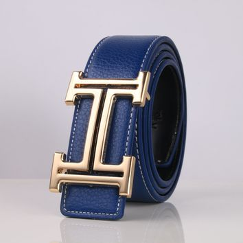 """HERMES"" Unisex Fashion Classic Multicolor  Metal Letter Plate Buckle Belt"