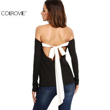 COLROVIE Womens Long Sleeve Tops T Shirt Women Women Shirts Black Halter Neck Open Shoulder Tie Back Ribbed T-shirt