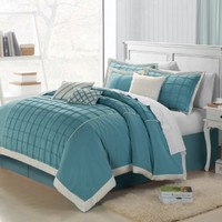 Chic Home Rhodes 8-Piece Comforter Set, Queen, Aqua