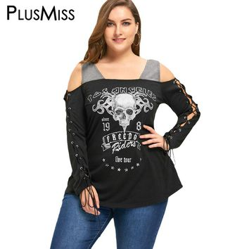 Plus Size 5XL Sexy Lace Up Cold Shoulder Top Tee Women Clothing Large Size Skull Print Rock Punk T-shirt Gothic T Shirt