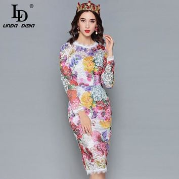 LD LINDA DELLA Fashion Designer Lace Dress Women's Long Sleeve Multicolor Floral Print Slim Pencil Elegant Dress