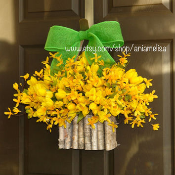 spring wreath forsythia tulips wreath yellow front door wreaths, birch bark vase, front door wreath, decorations, spring wreaths