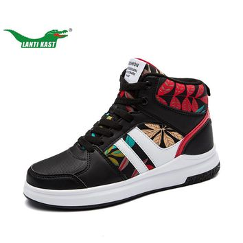 LANTI KAST Couple Sneakers New Design Unisex Personality High Top Sneakers for Girls Red/black/white Non-slip Durable Sport Shoe