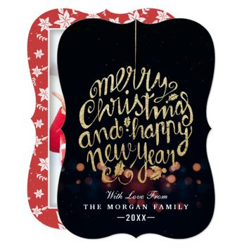 Black & Gold Christmas & New Year Typography Photo Card