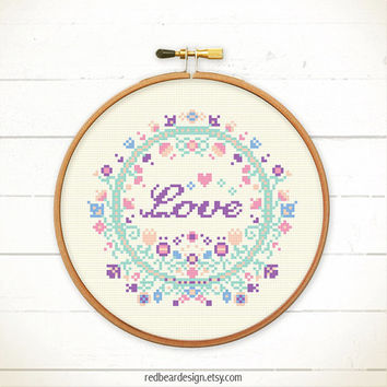 Floral Cross stitch pattern PDF - Floral with Love , smile & Joy SET - Instant download - Spring Inspiration with blessing gift ideas