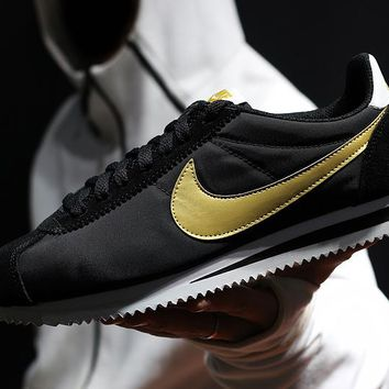 zz kuyou Nike Classic Cortez Men Women Sport Basketball Shoes Black Golden36-44