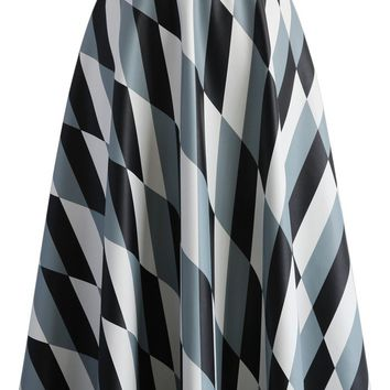 Chic Patterned Faux Leather A-line Midi Skirt