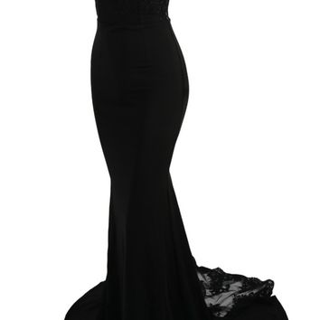 Honey Couture LEONA Black Lace Mermaid Bridesmaid Evening Gown Dress