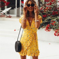Sleeveless Floral Loose Dress Fashion Casual Women'S Sexy Dress Large Size New Leaf Edge Print Dress