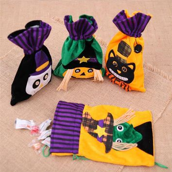 Halloween Pumpkin Witch Wizard Ghost Candy Gifts Bag Draw Pocket Hallowmas Trick or Treat Sacks Party Kids Favors Decoration