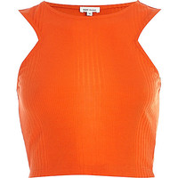 River Island Womens Bright orange ribbed racer front crop top