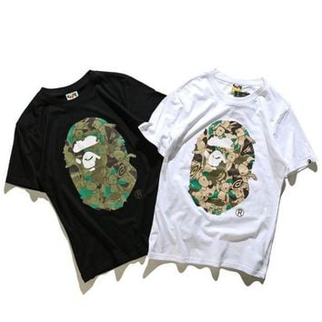 PEAPUF3 Unisex BAPE Monogram Print Cotton T-Shirt Tee Top