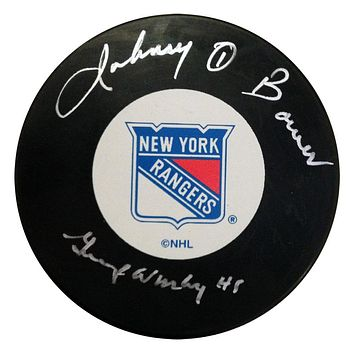 JOHNNY BOWER AND GUMP WORSLEY AUTOGRAPHED HOCKEY PUCK NEW YORK RANGERS