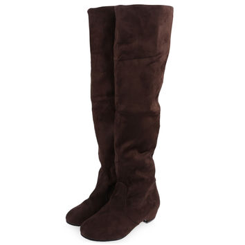 Sexy Ladies Slip On Slim Fit Stretch Boots Solid Suede Knee High Boots Women Warm Boots Soft Ladies Shoes Botas Mujer