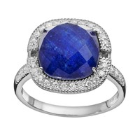 Siri USA by TJM Lapis Lazuli & Crystal Doublet, & Cubic Zirconia Sterling Silver Cushion Halo Ring (Blue)