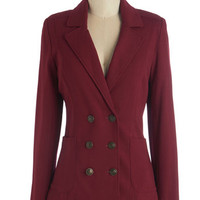 ModCloth Military, Scholastic Mid-length Long Sleeve Double Breasted A Snappy Medium Blazer in Scarlet