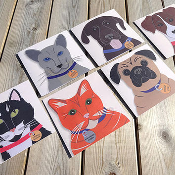 Dog and cat greeting cards, meet the cheeky chops, 6 beautifully hand-illustrated pet notecards, fabulous christmas gift