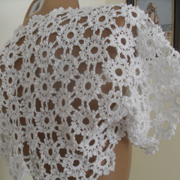 Lace Bolero, Shrug, Bridal Shrug Bolero, Wedding Lace Shrug Cape, Crochet Shrug, Wedding Cover Up Bridal Shawl white Crop Lace Top S M L
