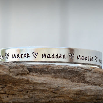 Personalized Name Bracelet Hand Stamped Silver Bracelet One Size Fits All Cuff Bangle Bracelet
