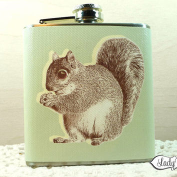 Squirrel with Acorn 6oz Hip Flask - Accessories - Sage LR121