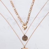 Gold Triple Layered Heart Necklaces