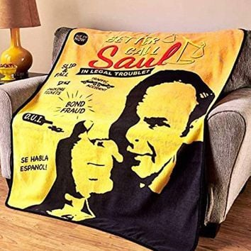 Better Call Saul OFFICIAL Warm Fleece Wall Hanging PREMIUM Gift Blanket with Walter White, RV & Golden Moth Chemical - PERFECT GIFT for LAWYERS
