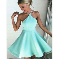Satin Cheap Short Mini Prom Dresses Halter 2017 Wedding Party Dress A-Line Short Prom Gown Simple Green Prom Dress